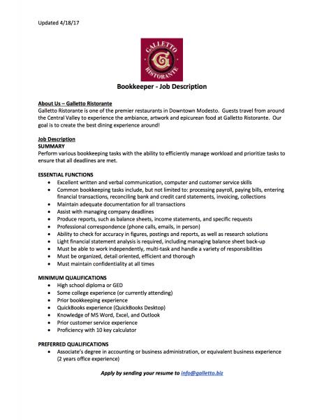 bookkeepers job description resume cv cover letter