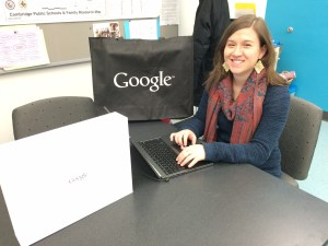 "Our intern, Suzy Roberts, showing the Chromebook LTE (you don't need WiFi to use it, and it has a touchscreen!) we're raffling in the ""March of the Ducklings."""
