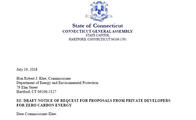 Legislators Send Letter to DEEP Regarding Draft Notice for Zero