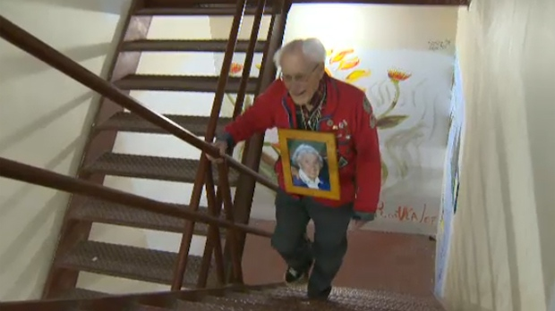 97 Year Old Man Climbs Calgary Tower Stairs For Charity