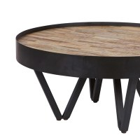 Dax Round Coffee Table With Wooden Inlay - Woood | Cuckooland