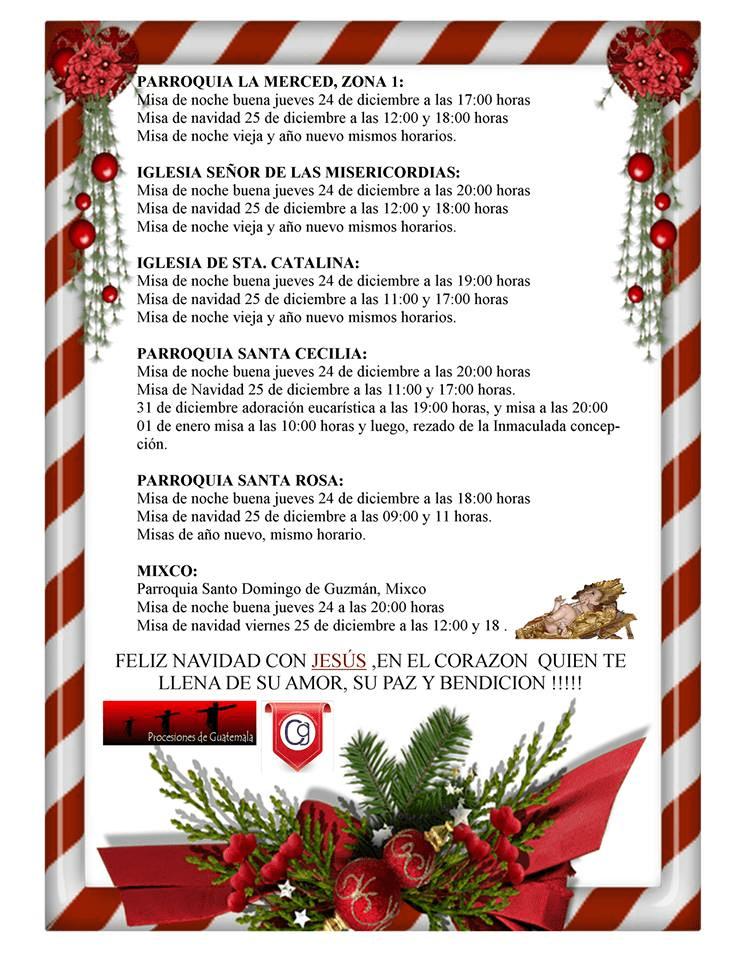 horario de misas en guatemala: