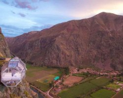 The suspended pod, or hotel room, overlooks Peru's Sacred Valley.