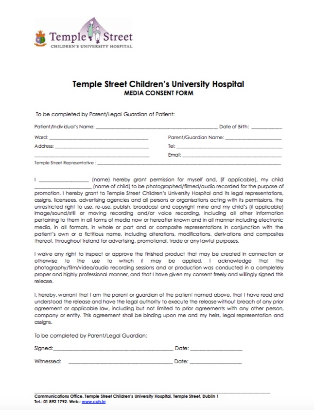Media Consent - Temple Street - photography consent form