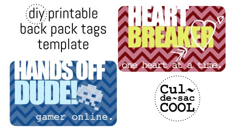 DIY Printable Back Pack Tags
