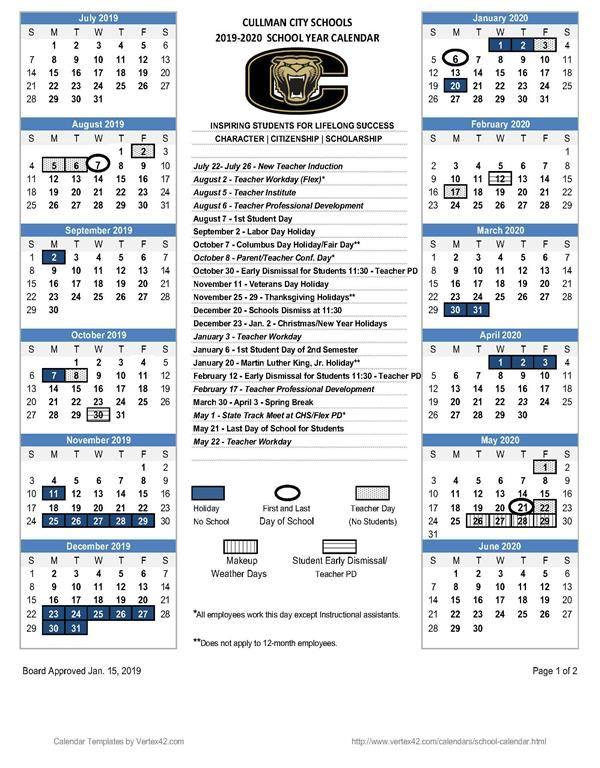 2019 - 2020 CCS Calendar / 2019 - 2020 CCS Calendar