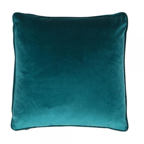 Teal Piped Edge Velvet Fabric Cushion Retro Designer