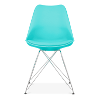 Eames Inspired Turquoise Dining Chair with Eiffel Metal ...