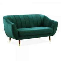 Teal Velvet Upholstered Melvin 2 Seater Loveseat Sofa ...