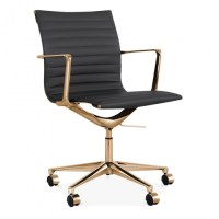 Cult Living Black and Gold Ribbed Office Chair with Short ...