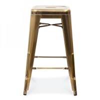 Tolix Style Metal Bar Stool Brass 65cm   Counter Height Stools
