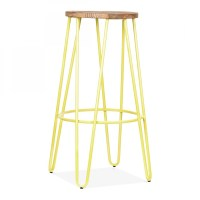 Cult Living Hairpin Stool in Yellow with 76cm Wood Seat ...