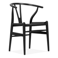 Hans Wegner Style Wishbone Dining Chair with Black Seat ...
