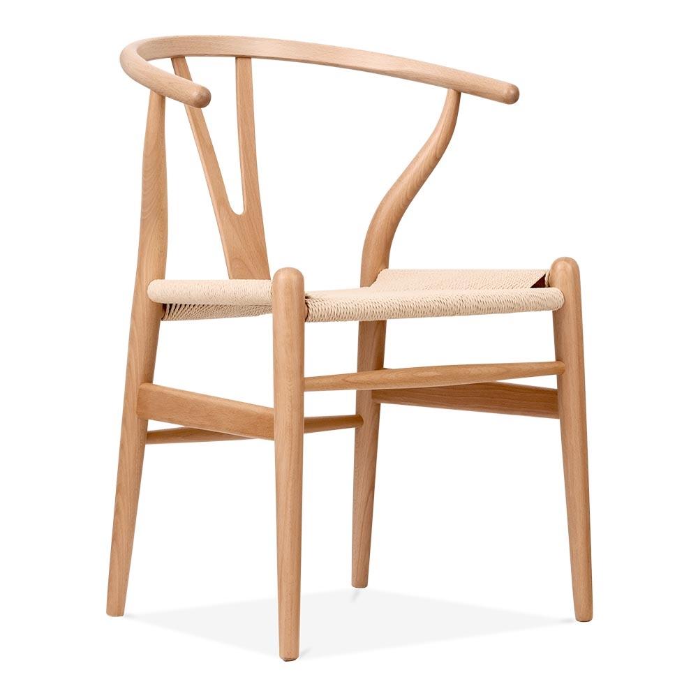 Hans Wegner Style Wishbone Chair in Natural Wood