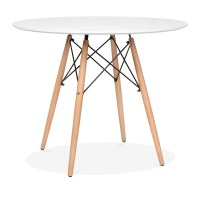 White Eames DSW Table with Wooden Legs 90cm | Dining ...