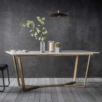 Gatsby Marble Dining Table White & Gold | Modern Dining ...