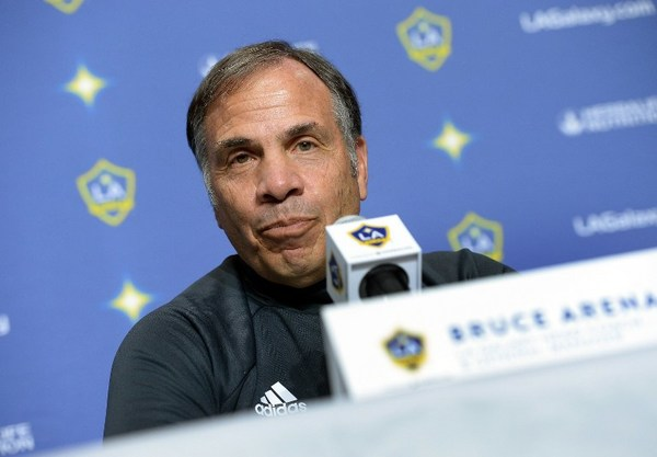 CARSON, CA - FEBRUARY 5: Bruce Arena coach Los Angeles Galaxy speaks during introduction of new Galaxy players Jelle Van Damme and Ashley Cole during a news conference at StubHub Center February 5, 2016, in Carson, California. Kevork Djansezian/Getty Images/AFP