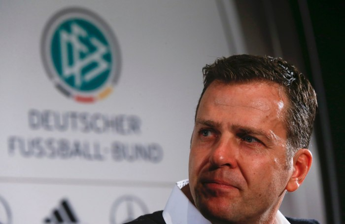 Oliver Bierhoff, manager of Germany's national soccer team, addresses the media during a news conference in Munich, Germany, November 10, 2015. REUTERS/Michael Dalder