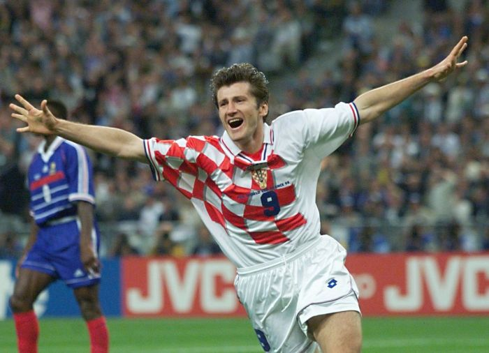 SAINT-DENIS, : Croatian forward Davor Suker jubilates after scoring a goal for his team, 08 July during the Soccer World Cup semi-final match France vs Croatia at the Stade de France in Saint-Denis, north of Paris. (ELECTRONIC IMAGE) AFP PHOTO OMAR TORRES (Photo credit should read OMAR TORRES/AFP/Getty Images)