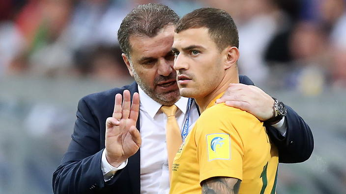 "SOCHI, RUSSIA - JUNE 19, 2017: Australia's head coach Angelos ""Ange"" Postecoglou (L) and Australia's James Troisi in the 2017 FIFA Confederations Cup Group B football match between Germany and Germany at Fisht Stadium. Artyom Korotayev/TASS (Photo by Artyom KorotayevTASS via Getty Images)"