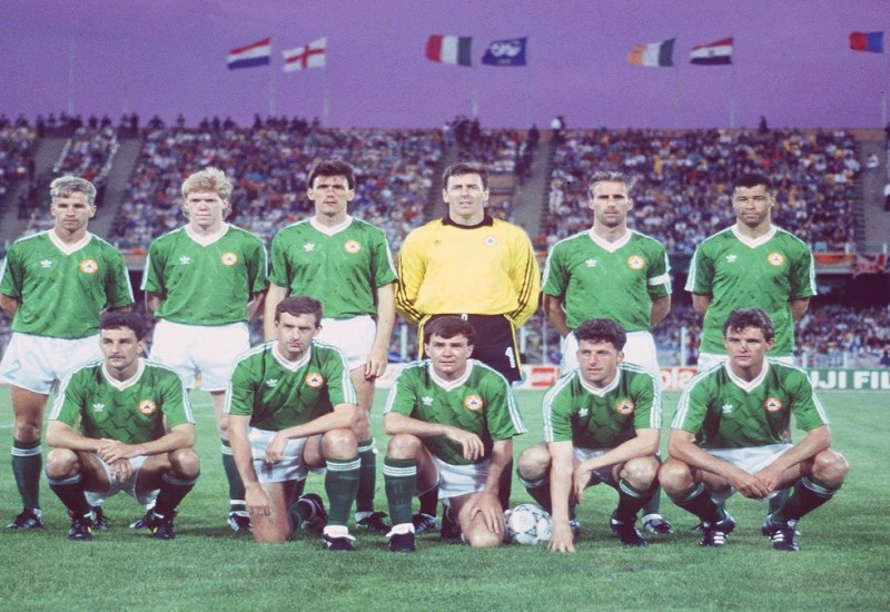 June 1990; The Republic of Ireland team who played England. Back row, from left, Chris Morris, Steve Staunton, Tony Cascarino, Packie Bonner, Mick McCarthy and Paul McGrath. Front, from left, John Aldridge, Kevin Sheedy, Ray Houghton, Andy Townsend and Kevin Moran. Republic of Ireland v England, World Cup Finals, Caglairi, Italy. Soccer. Picture credit; Ray McManus / SPORTSFILE