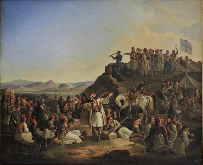 """""""El campamento de Georgios Karaiskakis en Kastella"""", una pintura de Theodoros Vryzakis (1855)."""