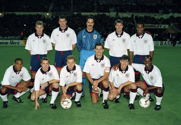 The England team prior to the friendly International against Romania at Wembley Stadium in London, 12th October 1994. The match ended in a 1-1 draw. Back row (left-right): Alan Shearer, Gary Pallister, David Seaman, Matt Le Tissier, Paul Ince. Front row: John Barnes, Graeme Le Saux, Rob Jones, Tony Adams, Rob Lee and Ian Wright. (Photo by Bob Thomas/Getty Images)