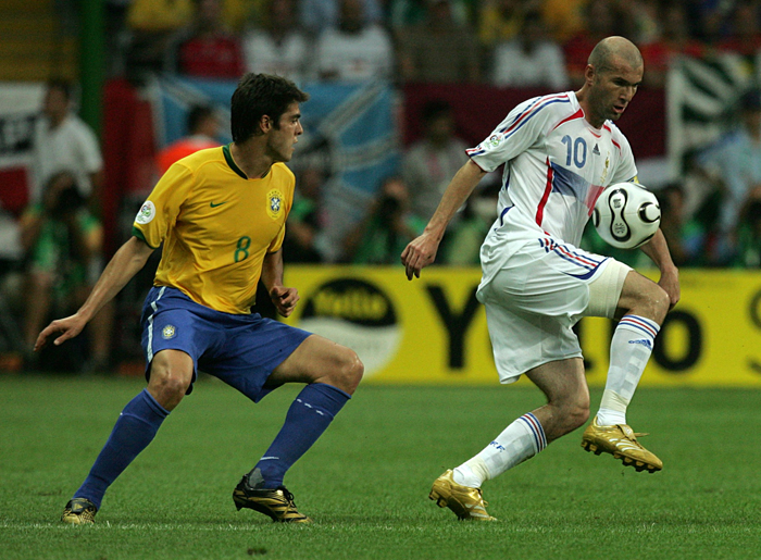 Ricardo Kaka, Brazil and Zinedine Zidane, France battle for the ball