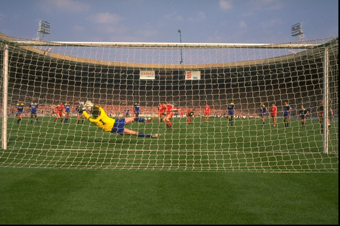 May 1988: David Beasant of Wimbledon saves a penalty from John Aldridge of Liverpool during the FA Cup final at Wembley Stadium in London. Wimbledon won the match 1-0. Mandatory Credit: David Cannon/Allsport