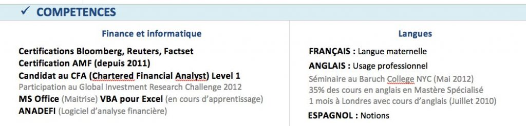 stage banque detail cv