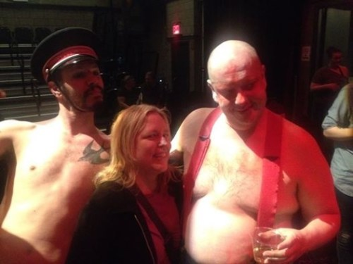 Dan Safer and Tony Torn with Michelle Temple, the current bassist for the band Pere Ubu, on opening night.