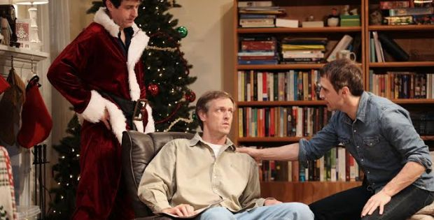 Gary Wilmes, James Stanley, and Pete Simpson in Straight White Men, a co-production with Young Jean Lee's Theater Company, written and directed by Young Jean Lee, running at The Public Theater. Photo credit: Julieta Cervantes.