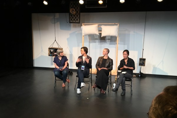 """Emily Harney, Kyoung H. Park, Katy Pyle, Stephanie Hsu in """"Queering Gay Marriage,"""" a PILLOWTALK panel (2015). Photo by Daniel Lim."""