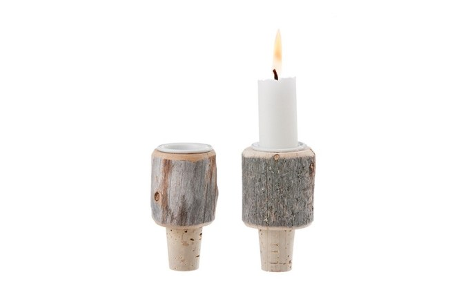 Kelo Wooden Wine Stopper and Candleholder
