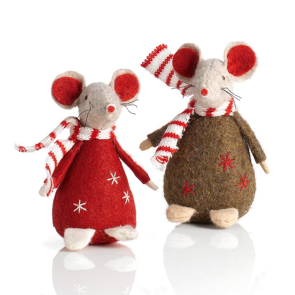 Pair of Felt Christmas Mice Christmas Decorations Culture - felt christmas decorations
