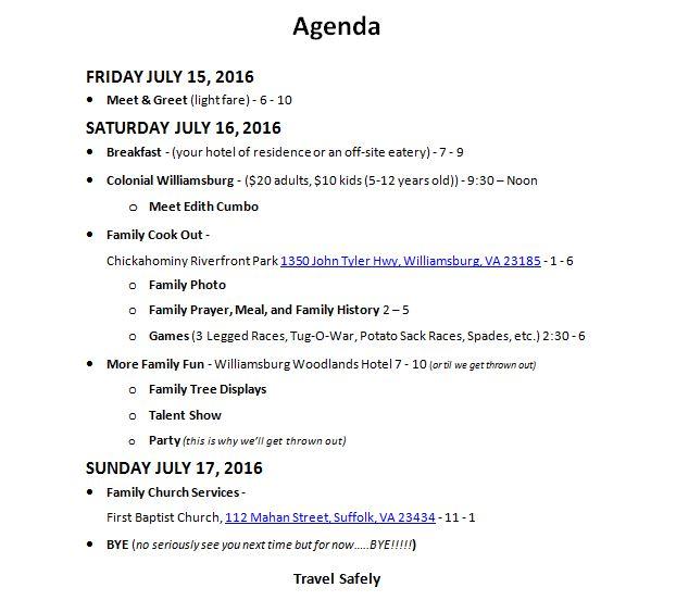 2016 Reunion - Cumbo Family Website - family agenda