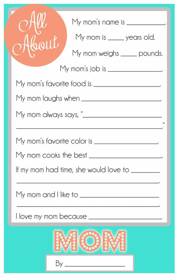 Mother\u0027s Day Questionnaire {A FREE Printable for the Kids - free printable questionnaire template