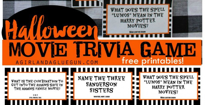 Printable Halloween Movie Trivia Game - 30 Days of Halloween Day 24