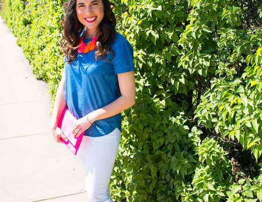 Denim Top with Neon Flowers for Summer   www.cupcakesandthecosmos.com