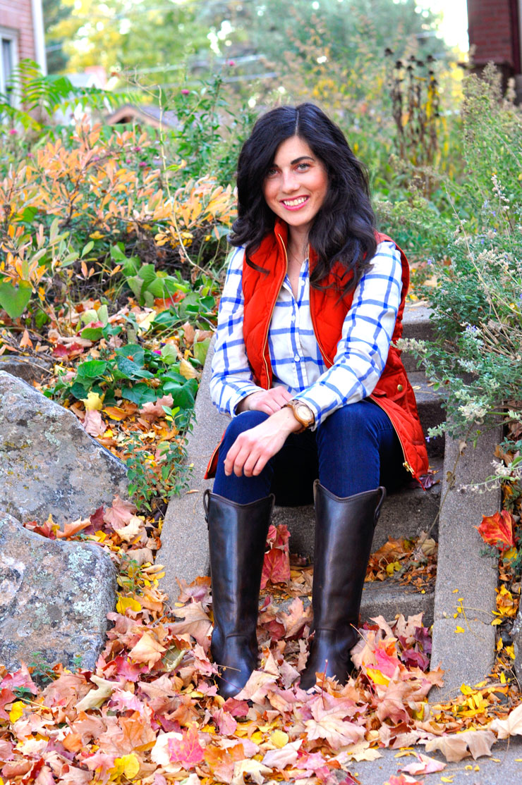 Classic Fall Outfit with Plaid and J. Crew Puffer Vest and JORD Wooden Watch | www.cupcakesandthecosmos.com