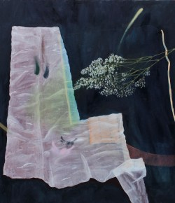 Prepping Things, 2014, Oil, wax, graphite and spray paint on canvas, 44 x 42 inches