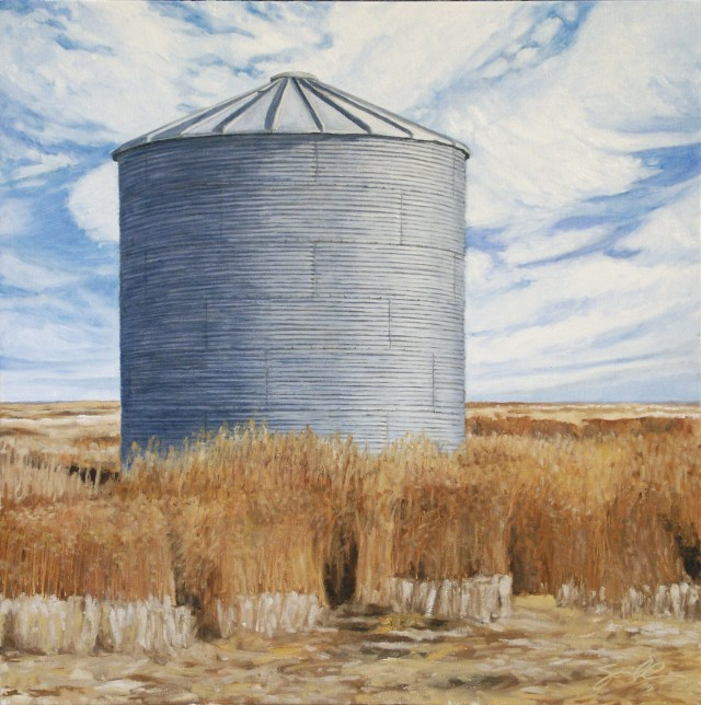 """Round Silo and Koshia Weed""  2005  20x20 Oil on canvas"
