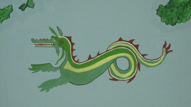 Map Dragon (Detail of 4'X6' wall mural; plaster and acrylic), 2014.