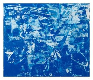 "John Bauer, Surf Combat, oil and enamel on linen 80.25"" x 94.5"" 2012-2014"
