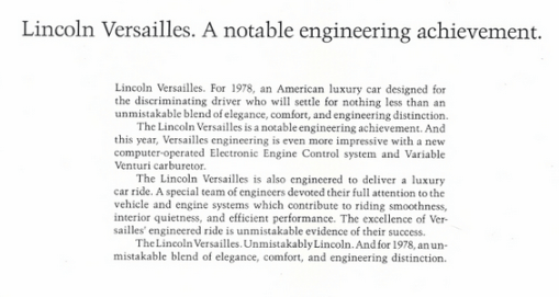 Lincoln Versailles ad
