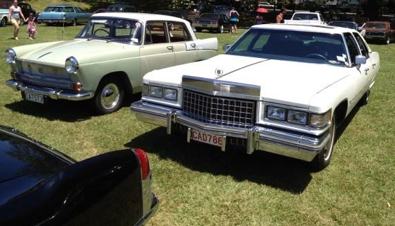 17. 1961 Austin Cambridge and 1976 Cadillac Fleetwood Talisman