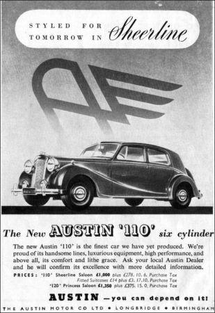 1947 Austin A110 Sheerline ad