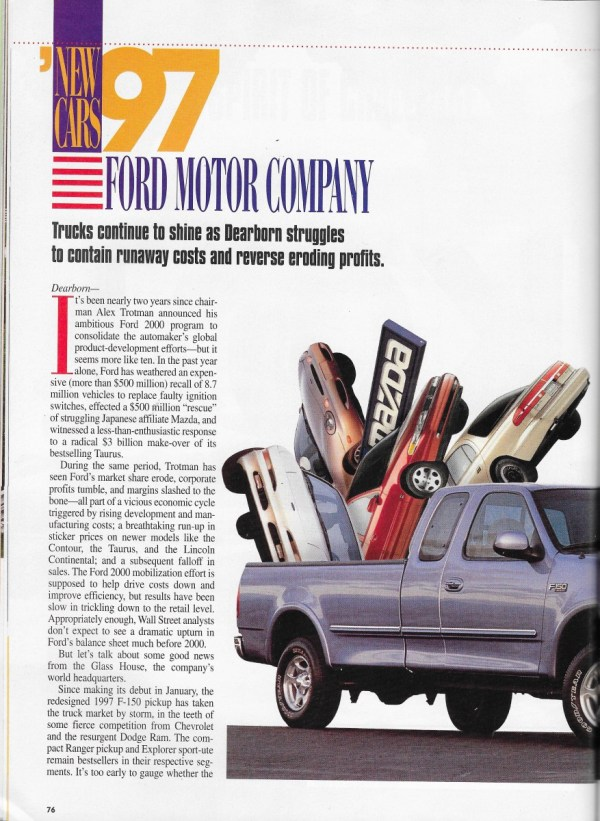 Vintage reviews automobile magazine 1997 new car issue for Ford motor company news headlines