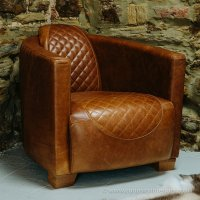 Buy Quilted Vinatge Italian Leather Tub Chair