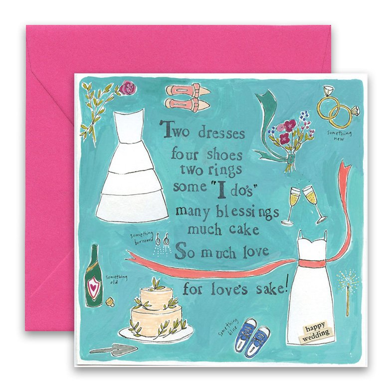 Two Dresses Greeting Card - Curly Girl Design